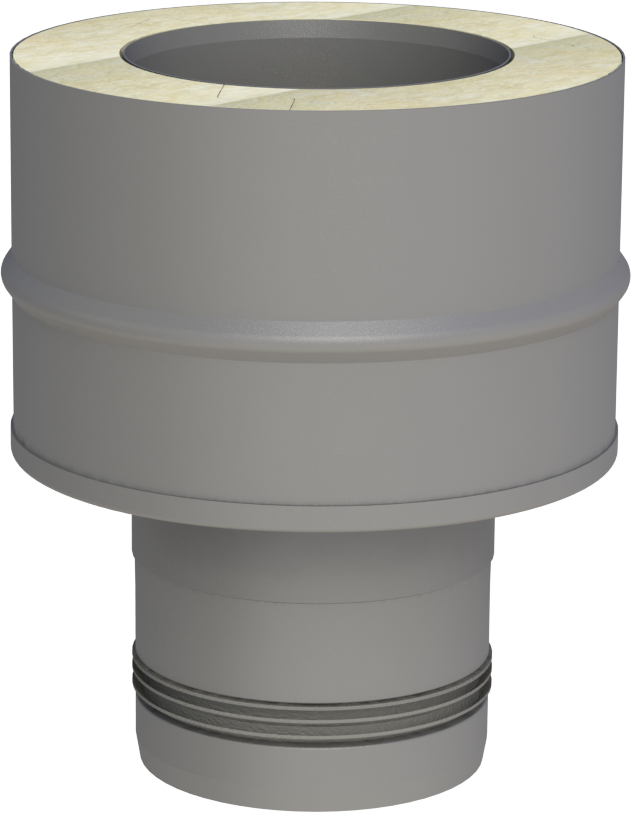 Koppelstuk pelletkachel 80 - naar dubbelwandig 100 mm (luchtdicht)