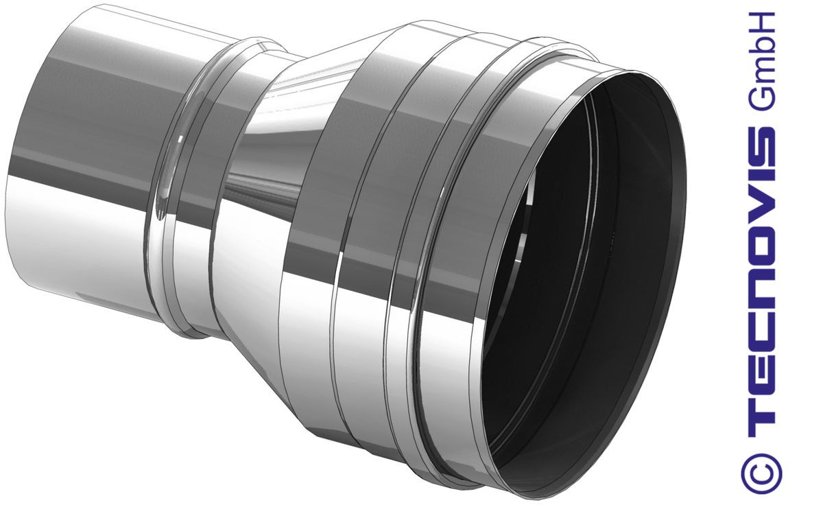 Verbreding inox 125 naar 150 mm