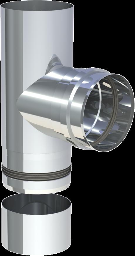 T aansluiting 90º (mof) met condensdop 100 mm