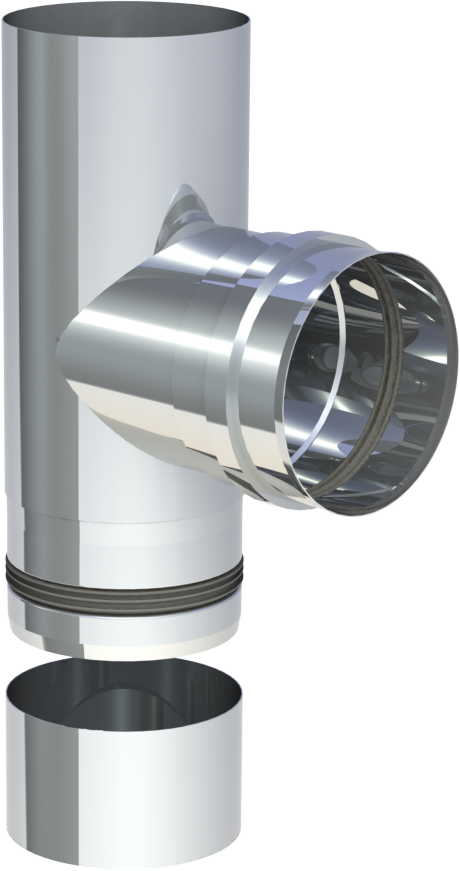 T aansluiting 90º (mof) met condensdop 80 mm