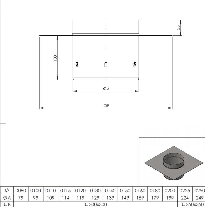 Schoorsteenplaat bovenzijde