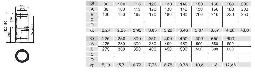 Kachelbuis paspijp 26 -42 cm