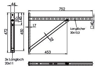 Wandkonsole TYP3 (Paar) Afstand tot 55.5 cm